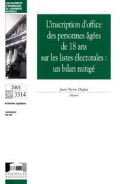 L'inscription d'office des personnes agees de 18 ans sur les listes electorales ; un bilan mitige - Couverture - Format classique