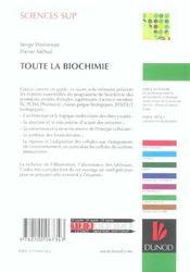 Toute la biochimie - 4ème de couverture - Format classique