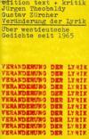 Veranderug Der Lyrik, Uber Westdeutsche Gedichte Seit 1965